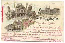 MÜNSTER...Carte Fantaisie Multivues...1896  (verso Timbre Arraché) - Muenster