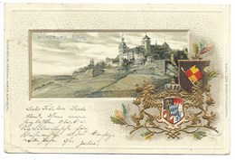 WÜRZBURG-Carte Gaufrée Blasons...Aeftzing... 1901  (coin Pli) - Wuerzburg