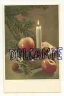 Sapin, Bougie, Cadeau, Noix Et Pommes. Coloprint - Vieux Papiers