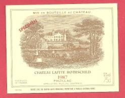 Etiquette Vin Bordeaux Pauillac - Château LAFITE ROTHSCHILD - 1987 -  Trés Bon état (spécimen) - Bordeaux