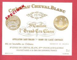 Etiquette Vin Bordeaux Saint Emilion - Château CHEVAL BLANC - 1979 -  Trés Bon état (spécimen)) - Bordeaux