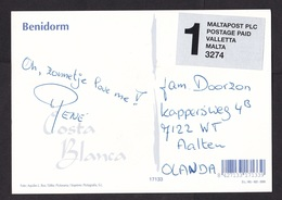 Spain: PPC Picture Postcard Benidorm To Netherlands, 1990s, Label Cheap Private Mail Service Via Malta (traces Of Use) - 1931-Tegenwoordig: 2de Rep. - ...Juan Carlos I