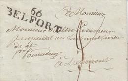 LAC De Masevaux Avec Timbre 66 BELFORT Noir [47 X 12] Du 24 Juin 1807 Adressée à Delémont Avec Taxe Manuscrite 3 - Marcofilie (Brieven)