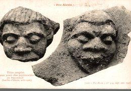 PRO ALESIA TETES COUPEES AUX YEUX CLOS REPRESENTEES EN BAS-RELIEF - Antiquité