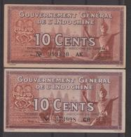 INDOCHINE    BANKNOTE   10c  Pick N° 85 C+d  Signatures Diff  VF.  Ref N° - Indochine