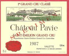 Etiquette Vin Bordeaux Saint Emilion - Château PAVIE - 1987 -  Trés Bon état (spécimen) - Bordeaux