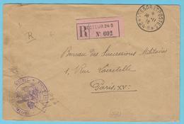 G.B. 01 - Lettre Recommandée  Avec Cachet De Franchise - Hôpital 12 De Vadelaincourt (55) Secteur 24 B - Guerre 1914-18