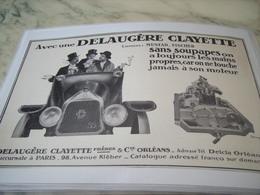 ANCIENNE PUBLICITE SANS SOUPAPES UNE DELAUGERE CLAYETTE 1914 - Voitures