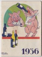 1936 Calendrier De Poche Offert Par La Crème Eclipse Illustré Par Micho ( Cochon ) - Calendriers