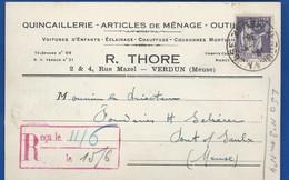 Carte A Entête D'Entreprise  Quincaillerie : R.THORE   2 Et 4 Rue Mazel   VERDUN    écrite En 1938 - Verdun