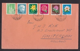 Switzerland: Cover To Netherlands, 1964, 6 Stamps, Pro Juventute, Flower, Girl (minor Damage At Back) - Zwitserland