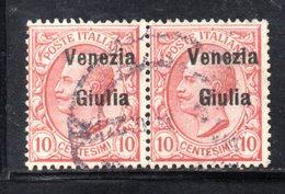 XP4185 - VENEZIA GIULIA 1918, Sassone N. 22  Coppia  Usata - 8. WW I Occupation