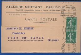 Carte A Entête D'Entreprise  Quincaillerie : Ateliers MOTTANT    BAR-LE-DUC      écrite En 1939 - Bar Le Duc