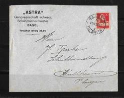 """HEIMAT BASEL → 1925 Brief """"ASTRA"""" Genoss..Schw. Schuhmachermeister Nach Müllheim - Svizzera"""