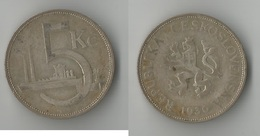 TCHECOSLOVAQUIE  5 KORUN  1930  ARGENT - Tchécoslovaquie