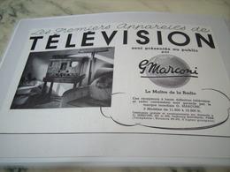 ANCIENNE PUBLICITE PRESENTES AU PUBLIC LES PREMIERS TELEVISION MARCONI 1938 - Publicité