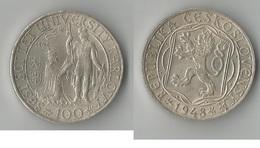 TCHECOSLOVAQUIE  100 KORUN  1948  ARGENT - Tchécoslovaquie