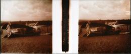 Photo Stéréoscopique Plaque De Verre Positif - SPAD De Chasse écrasé à L'atterrissage - Chasseur Biplan Guerre War WW1 - Plaques De Verre