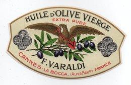 - ALIMENTATION - HUILE D'OLIVE VIERGE - EXTRA PURE - F. VARALDI - CANNES-LA-BOCCA - - Etiquettes