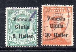 XP4196 - VENEZIA GIULIA 1919, Sassone  N. 30/31  Usato. - Occupation 1ère Guerre Mondiale