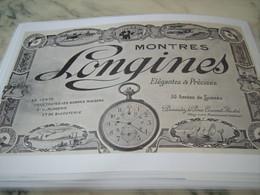 ANCIENNE PUBLICITE ELEGANTES PRECISES MONTRES LONGINES  1912 - Bijoux & Horlogerie