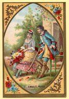 """Chromo Buscs """"A L'Ancre"""", Laçures Pour Corsages. Illustration, Jeune Fille Avec Un Bouquet Et Jeune Homme. - Trade Cards"""