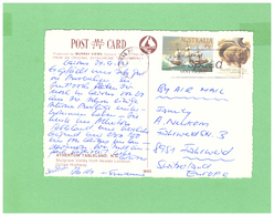 AUSTRALIA 1987 AIR MAIL POSTCARD WITH 2 STAMPS TO SWISS - Covers & Documents