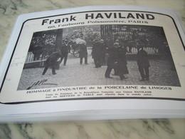 ANCIENNE PUBLICITE HOMMAGE A LA PORCELAINE DE LIMOGES FRANK HAVILAND 1913 - Publicité