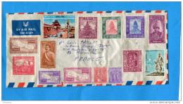 Marcophilie-lettre-NEPAL >Françe  Cad 1962 + 17 Stamps- Belle Cote - Népal
