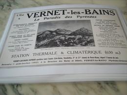 ANCIENNE PUBLICITE LE PARADIS DES PYRENEES VERNET LES BAINS 1912 - Publicité