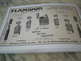 ANCIENNE PUBLICITE BRIQUET PARISIEN FLAMIDOR 1914 - Tabac (objets Liés)