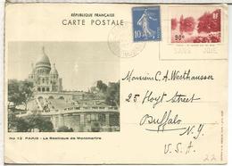 FRANCIA ENTERO POSTAL 1937 BASILIQUE DE MONTMARTRE CHRUCH IGLESIA ARQUITECTURA PARIS - Iglesias Y Catedrales