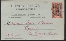 RUANDA URUNDI - EP N°14 CONGO Surch. EST AFRICAIN ALLEMAND Obl. USUMBURA Vers La Panne 1923. SBEP 25€ - Entiers Postaux