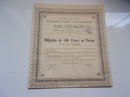 établissement Thermal Et Eaux Minérales De SAIL LES BAINS (1879) - Non Classés