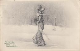AK - FRÖHLICHE WEIHNACHTEN - Mädchen Im Schnee 1912 - Weihnachten