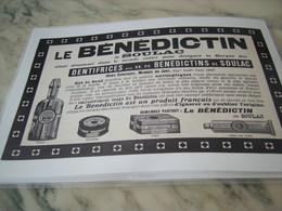 ANCIENNE PUBLICITE DENTIFRICE LE BENEDICTIN DE SOULAC 1908 - Perfume & Beauty