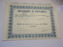 BOULONNERIES DE BOGNY BRAUX (ardennes) 1913 - Shareholdings