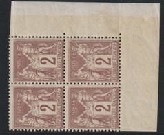 YT 85 **/* 2c Brun-rouge, Bloc De 4 TP Cdf, 2 Ex *, TB - 1876-1898 Sage (Type II)