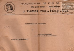 Merson 50 Cts Seul Sur Lettre - 05.01.1921 - Lille - Fil à Tête De Cheval Thiriez - Poststempel (Briefe)