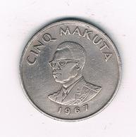 5 MAKUTA   1967 CONGO /2273/ - Congo (République 1960)