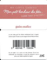 Carte Cadeau - Grain De Malice / Verso 20 € . -  GIFT CARD /GESCHENKKARTE - Cartes Cadeaux