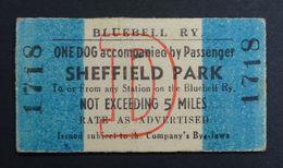 Bluebell Railway Ticket, Dog & Passenger Sheffield Park. - Chemins De Fer