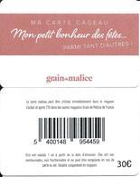 Carte Cadeau - Grain De Malice / Verso 30 € . -  GIFT CARD /GESCHENKKARTE - Cartes Cadeaux