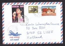 Burkina Faso: Airmail Cover To Netherlands, 1996, 3 Stamps, Michael Jackson, Pop Music, Crocodile, Rare! (traces Of Use) - Burkina Faso (1984-...)