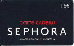 Carte Cadeau - Séphora / 15 € En Carton  -  GIFT CARD /GESCHENKKARTE - Cartes Cadeaux