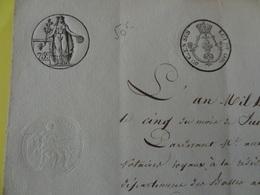 1825 (Basses-Alpes) Timbre 75c + Complément Tarif Ville De Digne  (Alpes-de-Haute-Provence) - Cachets Généralité