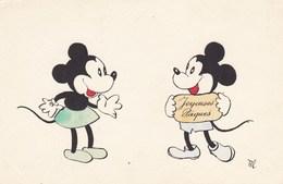 Happy Easter, Joyeuses Pâques, Mickey And Minnie Mouse, Vintage Card!! (pk57136) - Pasqua