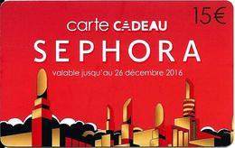 Carte Cadeau - Séphora / 15 € Jusqu'au 26 Décembre 2016 -  GIFT CARD /GESCHENKKARTE - Cartes Cadeaux