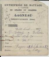 ORIGNY LE ROUX LAGNEAU ENTREPRISE DE BATTAGE A VAPEUR DE GRAINS ET GRAINES PETIT RECU ANNEE 1929 - Unclassified