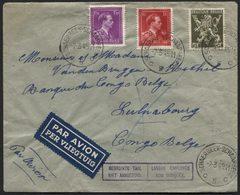 Lettre Col Ouvert Obl. SCHAERBEEK Par Avion Vers Luluabourg Congo Belge 1945 + Bil. LANGUE EMPLOYEE NON EMPLOYEE. TB - WW II